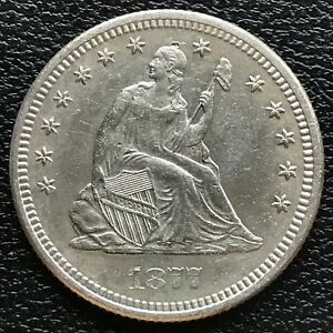 1877 Seated Liberty Quarter 25c High Grade UNC #13249