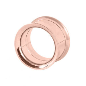 ROSE GOLD DOUBLE FLARE SCREW FIT FLESH TUNNEL EAR EYELET STRETCHER 3MM - 25MM