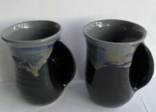 Pair of Neher Pottery Hand Warmer Coffee Mug Cup Drip Glaze Right Handed 2019