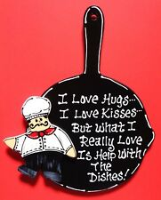 Fat Chef Hugs/Kisses/Dishes Kitchen Skillet Sign Wall Art Cucina Bistro Plaque