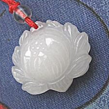 Big & Thick Delicately Carved White Jade Close Bud Lotus Flower Amulet Pendant