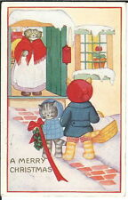 Ba-141 - A Merry Christmas Cat Family in Clothes 1907-1915 Postcard Burcoon, Oh