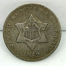 1852 Three Cent Silver Coin 3CS - Uncertified ,Ungraded , Nice Original Piece.