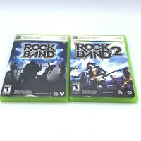 Rock Band 1 & Rock Band 2 Game Lot (Microsoft Xbox 360) Complete With Manual CIB