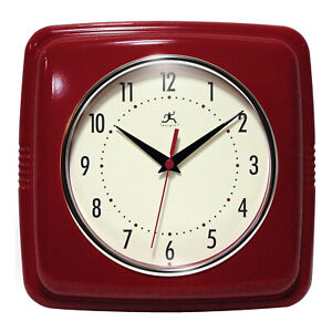 Infinity Instruments 9.5 Inch Retro Square Indoor Room Polyresin Wall Clock, Red
