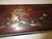 Boite bois précieux,marqueterie incrustations laiton et nacre, 36x11cm,Chine 19e