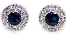 Sterling Silver Blue Sapphire & Diamond 3.12ct Stud Earring (925)