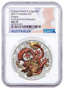 2021 P Australia 1 oz Silver Dragon Colorized BU $1 Coin NGC MS70 Flag PRESALE