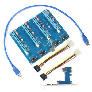WBTUO USB3.0 PCI-E Adapter Card 1 to 4 1X to 16X Riser Card for PC Computer