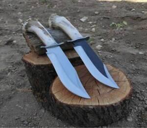 "PAIR OF 2 CUSTOM HANDMADE 440C STEEL 12"" STAG HORN BOWIE KNIFE, HUNTING KNIFE"