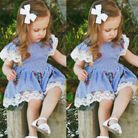 Toddler Baby Girl Floral Clothes Ruffle Sleeve Dress Skirt Sundress Sunsuit LE