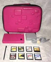 Nintendo DSi Hot Pink System Bundle With Case, Charger, and 8 Games. Tested!