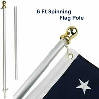 6ft Aluminum Spinning Stabilizer Flag Pole Gold Ball Adjustable Mount USA Flag
