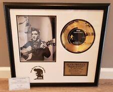 ELVIS PRESLEY FRAMED 24KT GOLD PLATED RECORD HEARTBREAK 50th ANNIVERSARY