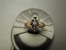 Antique Estate C1940 10K Gold 0.37TCW Kashmir Sapphire & Diamond Ring Sz 4