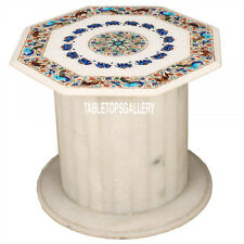 22'' White Marble Coffee Table Top With Stand Inlay Arts Decor Furniture H3548