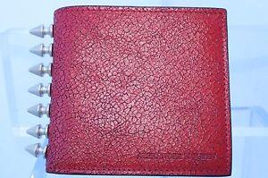 New Alexander Mcqueen Men's Wallet Bi-fold Studded CC Holder Red
