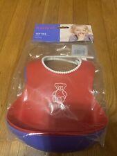 Baby Bjorn Soft Plastic Bibs With Pocket Red Blue Adjustable Washable Set of 2