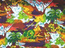 Vtg Jahaca Prints Hawaiian Fabric Batik Volcano Palm Tree Purple Red Barkcloth
