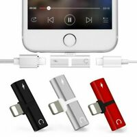 2 in 1 Adapter Aux Splitter Audio Headphone Charge Cable Cord For iPhone X 8 7