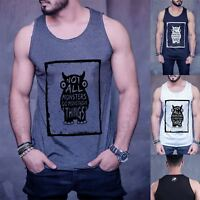 Mens Branded Not All Monsters Cotton Gym Training Sports Fitness Tank Top Vest