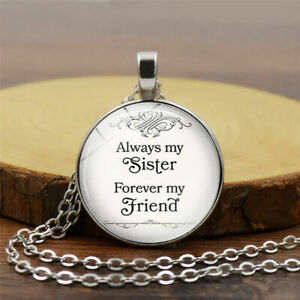 Always My Sister Forever My Friend Necklace Pendant Gift Family Best Friends UK