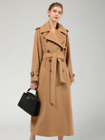 Damen Wollmantel Wintermantel mit 80% Wolle Casual-Look Trenchcoat Lang Parka