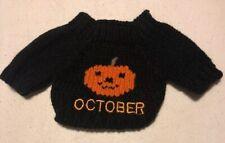 "Teddy Bear Doll Small Knit Sweater 5"" Black Pumpkin Halloween Jack O Lantern"