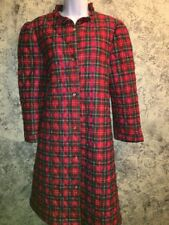 Vintage quilted red green plaid flannel LORRAINE knee length robe house coat M