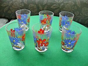 "6 Vintage BN Luminarc 'flower power' 1970's drinking glasses/tumblers= 3.5"""