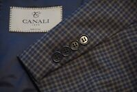 Canali 1934 CURRENT Blue Gray Gingham Plaid Wool Sport Coat Jacket Sz 48R MINT