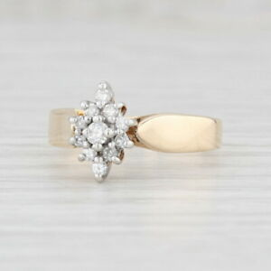 New 0.24ctw Diamond Halo Engagement Ring 14k Yellow Gold Cathedral Band