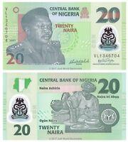 Nigeria 20 Naira 2007 Polymer P-34b 7 Digit Banknotes UNC
