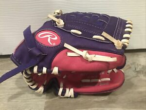 """Rawlings Youth Softball Glove Pink/Purple 10"""" Right Hand Thrower Barely Used"""