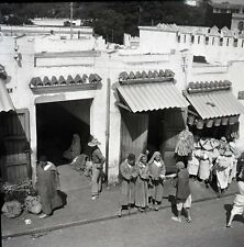 TANGER c. 1950 - Négatif 6x6 3 Mendiants Aveugles Maroc - OST 19