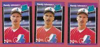 RANDY JOHNSON 1989 DONRUSS 3 CARDS VARIATIONS #42 ERROR RATED ROOKIE RCS EXPOS