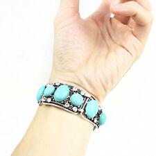 Retro Wide Turquoise Cuff Bracelet Bangle Chain Wristband Women Fashion Jewelry