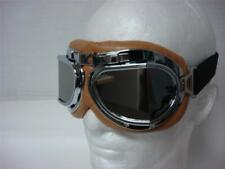 WWII RAF Aviator Motorcycle Moped helmet Pilot GOGGLE Wildfire Brown/Mirror lens