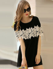 INTERNATIONAL ONeck Patchwork Chiffon Above Knee Short Sleeve A-Line Dress Black