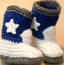 Custom Design Handmade Crochet Dallas Cowboys Cowboy Boots Baby Booties