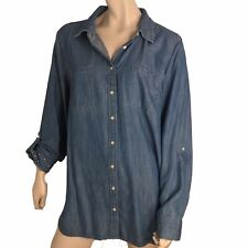 Talbots Top Women Size XL Chambray Button Shirt Long Sleeve Roll Tab Pleated
