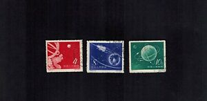PR China 1958 S25 Sc 379-81 Soviet Sputniks Rocket in Space Satellite CTO NGAI C