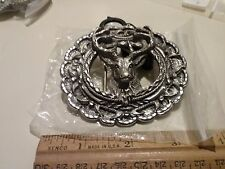New large Vintage dear head  Diamond Cut Belt Buckle EJC Made USA 1993