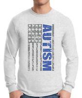 Autism Awareness Men's  Long Sleeve T shirts Tops Shirts Puzzle Flag