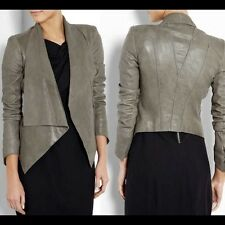 NWT NEW HELMUT LANG   $1,390 DRAPED LEATHER  JACKET COAT WITH HOOK  P OR XS