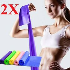 2 Pcs 5 Feet Stretch Resistance Bands Exercise Pilates Yoga GYM Workout  Aerobic