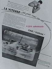 PUBLICITE CINE KODAK PATHE CAMERA KODASCOPE COURSE AUTOMOBILE DE 1932 FRENCH AD