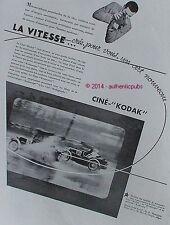 PUBLICITE CINE KODAK PATHE CAMERA KODASCOPE COURSE AUTOMOBILE DE 1932 FRENCH AD