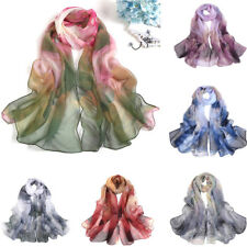 Fashion Adult Chiffon Women Lotus Printing Long Soft Wrap Scarf Shawl Scarves UK