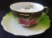 ANTIQUE OVERSIZED MUSTACHE CUP & SAUCER HAND PAINTED CABBAGE ROSE